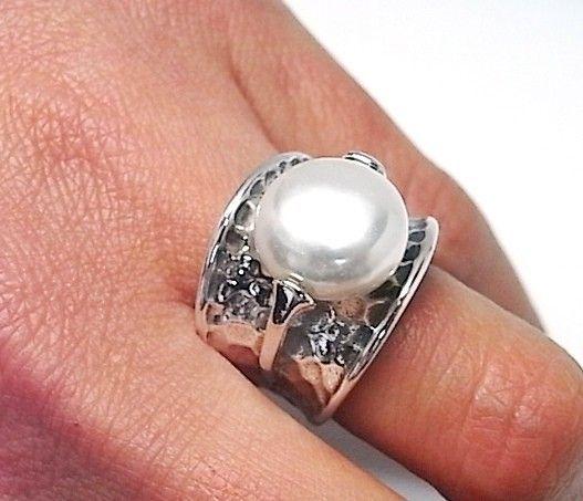 11970-Sortija-martilleada-perla-color Anillo martilleada perla color