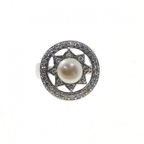 21927.3 Anillo perla rodiada