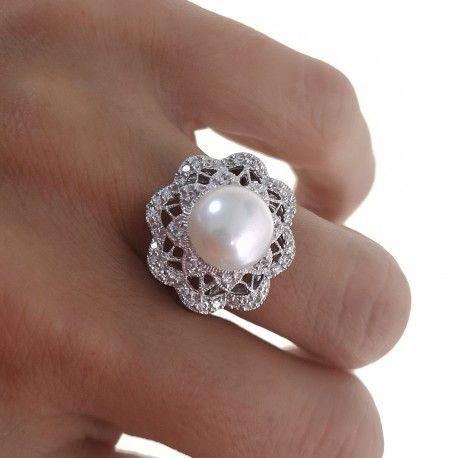 21930.2 Anillo perla rodiada