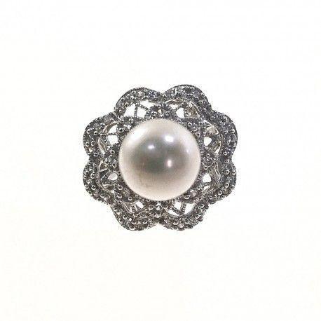 21930.3 Anillo perla rodiada