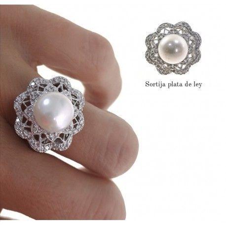21930 Anillo perla rodiada