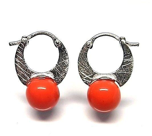 6028-Pendiente-aro-perla-color Pendiente aro perla color