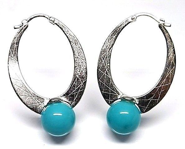 6030-Pendiente-aro-perla-color Pendiente aro perla color