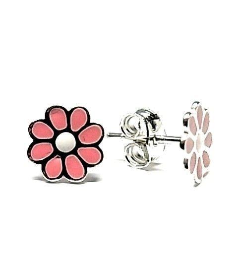 5408-Pendiente-esmalte-rosa Pendiente esmalte flor