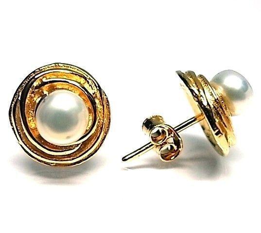 6256-Pendiente-perla-chapado Pendiente perla chapado