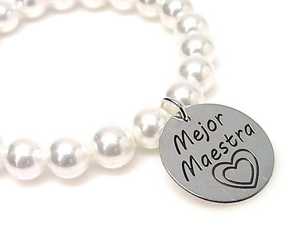 """10672-Pulsera-perla-mejor-maestra Pulsera perla """" mejor maestra"""""""