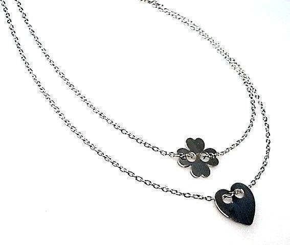 10861-Gargantilla-doble-cadena-corzon-y-flor Gargantilla doble cadena corzón y flor