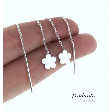 27952 Pendiente doble cadena flor