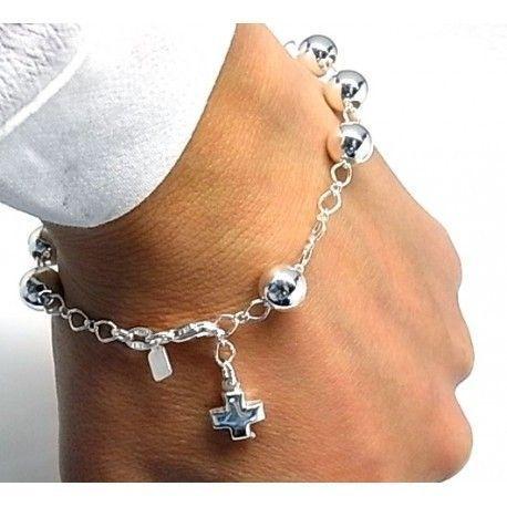 14984-Pulsera-rosario-bolas-cruz Pulsera rosario bolas cruz