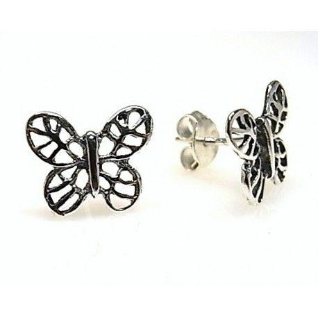 15962-Pendiente-mariposa-oxidada Pendiente mariposa oxidada