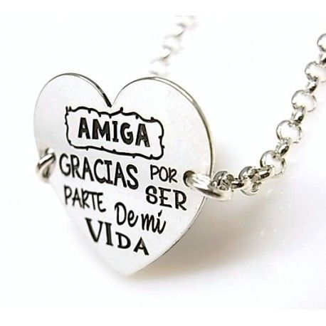 """16025-Pulsera-corazon-Amiga-gracias-por-ser-parte-de-mi-vida Pulsera corazón """"Amiga gracias por ser parte de mi vida """""""