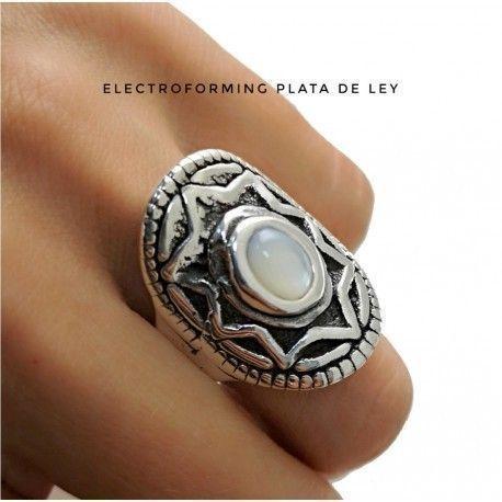 17393-Sortija-electroforming-piedra Anillo electroforming piedra