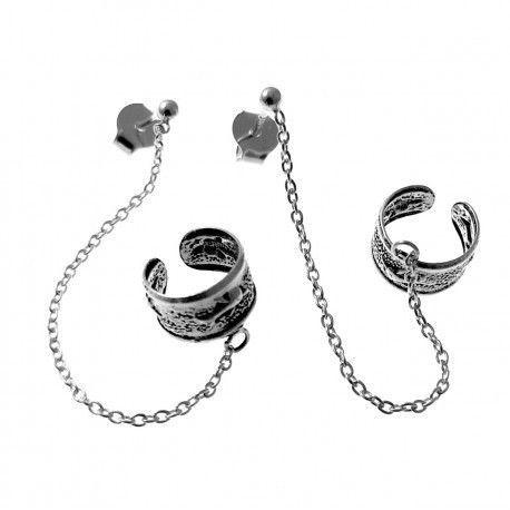 17663-Pendiente-aro-trepador-cadena Pendiente aro trepador cadena