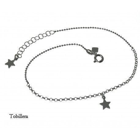 33078 Tobillera rodiada estrellas colgando