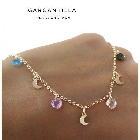 33401.2 Gargantilla chapada lunas y piedra color