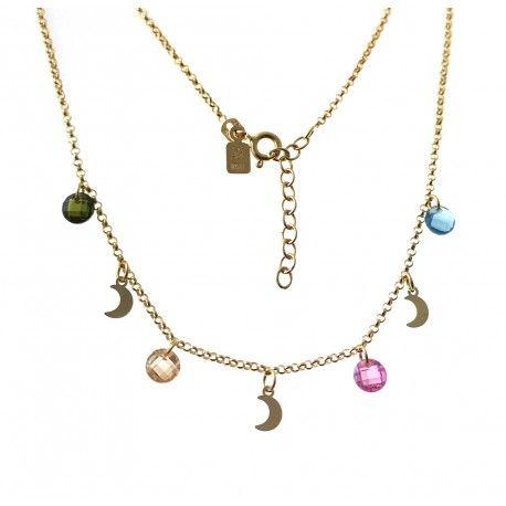 33401 Gargantilla chapada lunas y piedra color