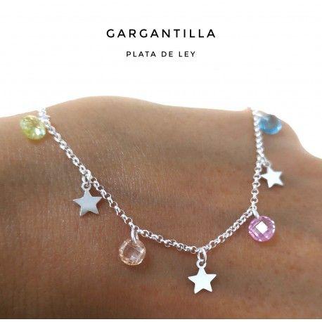 33423.2 Gargantilla estrellas piedra color