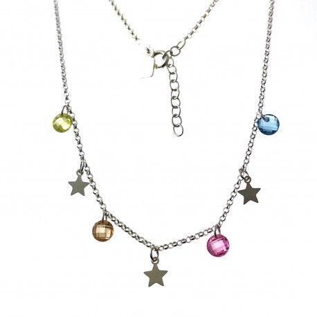 33423 Gargantilla estrellas piedra color