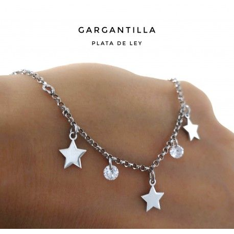 33448.2 Gargantilla rodiada piedras y estrellas colgando