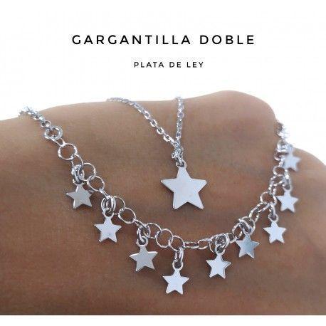 33511.2 Gargantilla rodiada doble estrellas