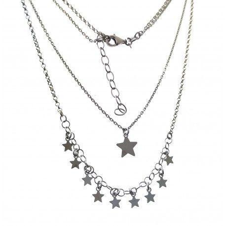 33511 Gargantilla rodiada doble estrellas