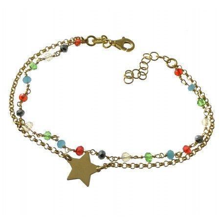33517 Pulsera chapada doble piedra color y estrella