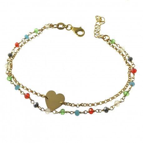 33518 Pulsera chapada doble , corazón y piedra color