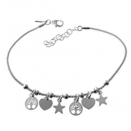 33525 Pulsera coreana estrellas , corazones y árbol de la vida