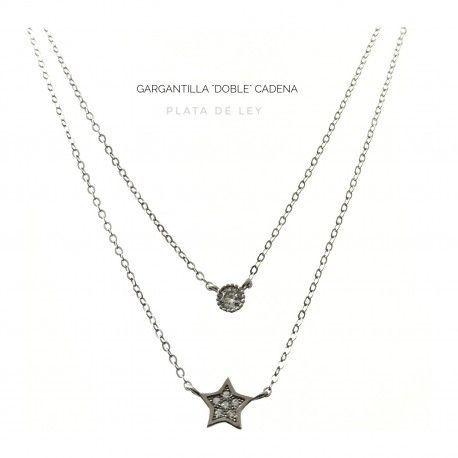 31660 Gargantilla doble estrella y circonita