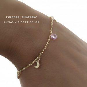 33650-300x300 Pulsera chapada piedras color lunas colgando