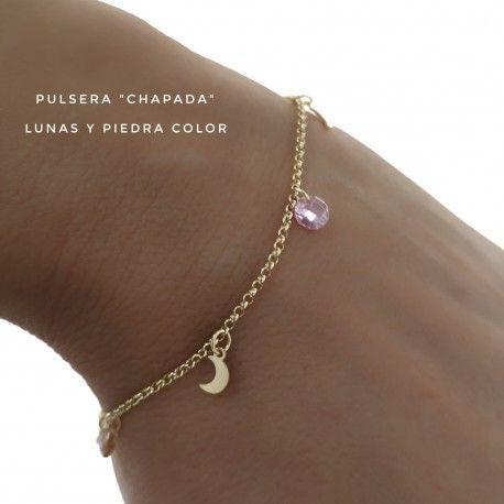 33650 Pulsera chapada piedras color lunas colgando