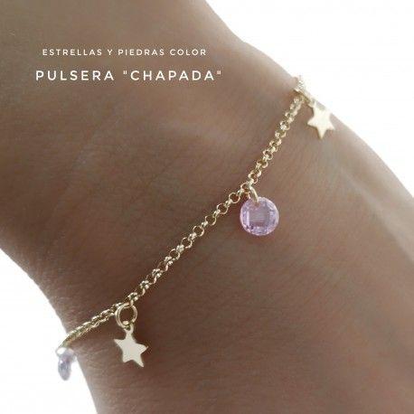 33651 Pulsera chapada piedra color estrellas colgando