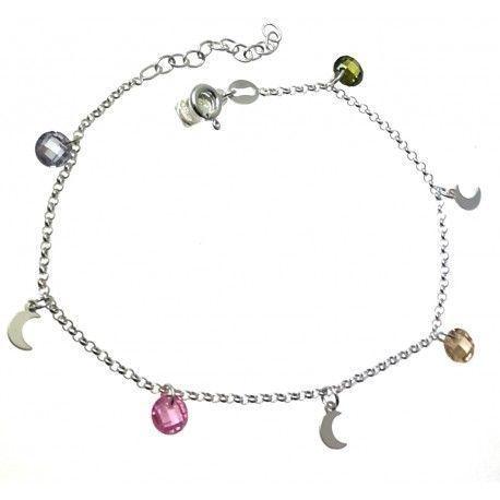 33673 Pulsera cadena rolo lunas y piedra color