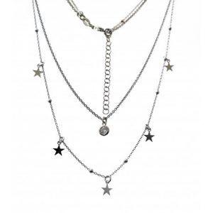33740-300x300 Gargantilla rodiada doble cadena chatón y estrellas