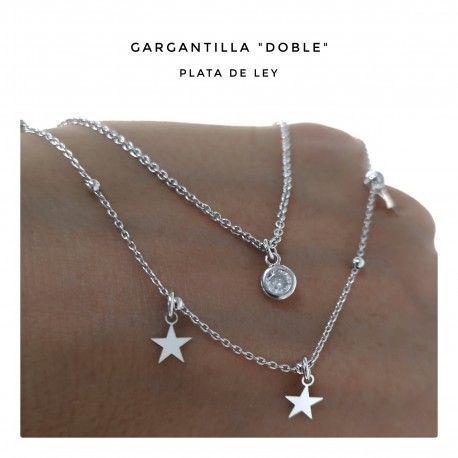 33740.2 Gargantilla rodiada doble cadena chatón y estrellas