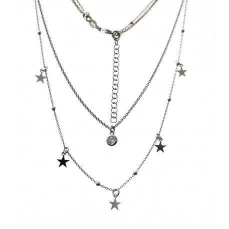 33740 Gargantilla rodiada doble cadena chatón y estrellas