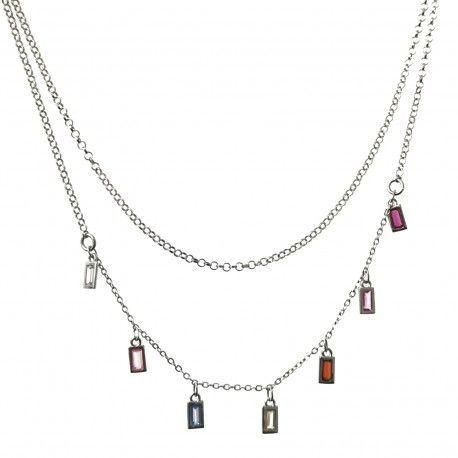 33841 Gargantilla doble cadena rodiada barretas de colores