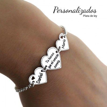 33915 Pulsera personalizada corazones mensaje