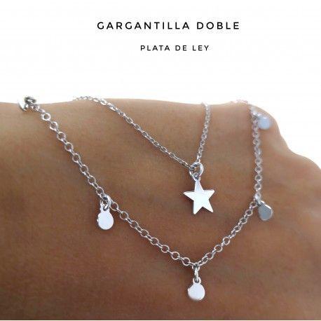 33491.2 Gargantilla doble rodiada estrella discos