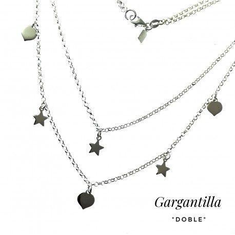 33528 Gargantilla doble corazones y estrellas