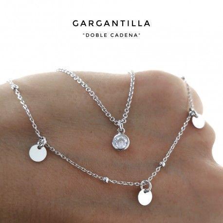 33739-1 Gargantilla rodiada doble cadena chatón y discos