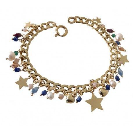 33902 Pulsera chapada piedras color perlas y estrellas colgando