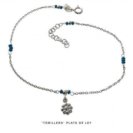 34045 Tobillera flor piedras turquesas