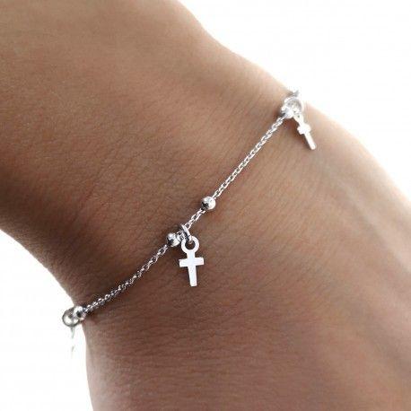 34048 Pulsera infantil rodio cruces