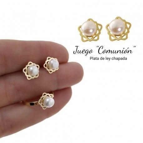 34078 Juego comunión perla chapado