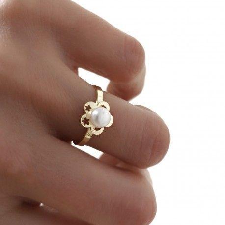 34082.2 Juego perla flor comunión chapado