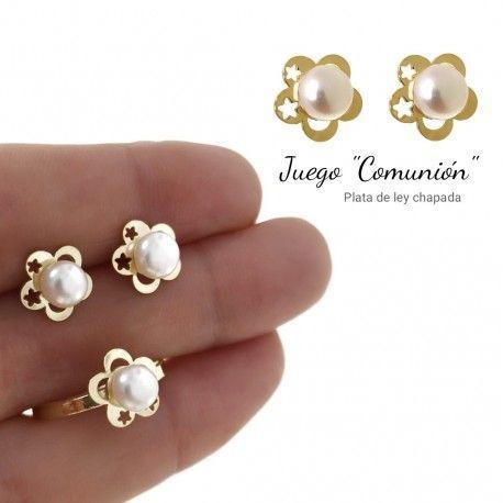 34082 Juego perla flor comunión chapado