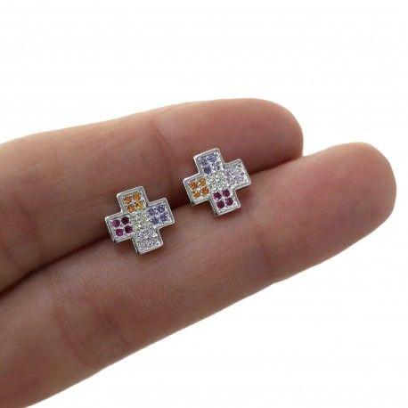 31573 Pendiente cruz microengaste multicolor