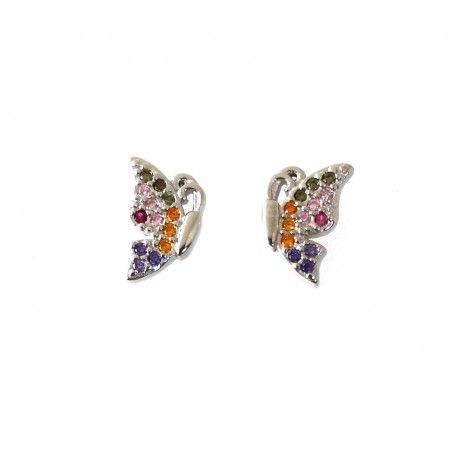 31574 Pendiente microengaste multicolor mariposa