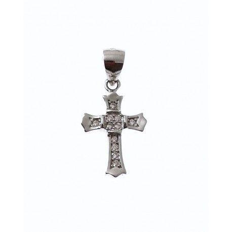 31722-1 Colgante cruz rodiada circonitas